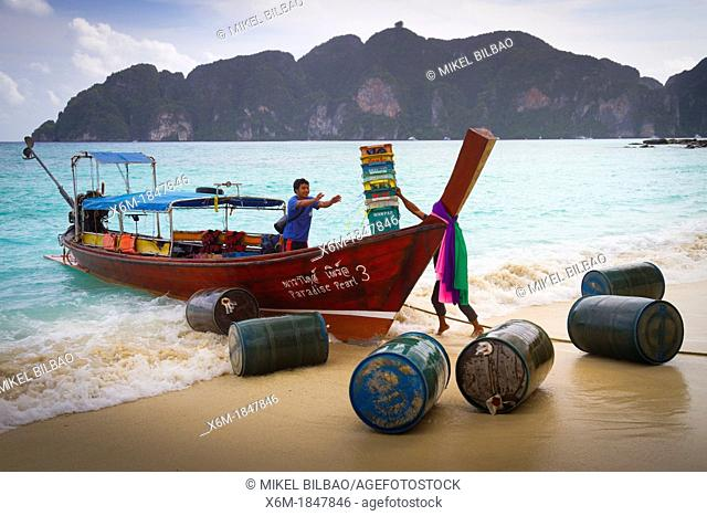 Longtail boat on Long beach  Phi Phi Don island  Krabi province, Andaman Sea, Thailand