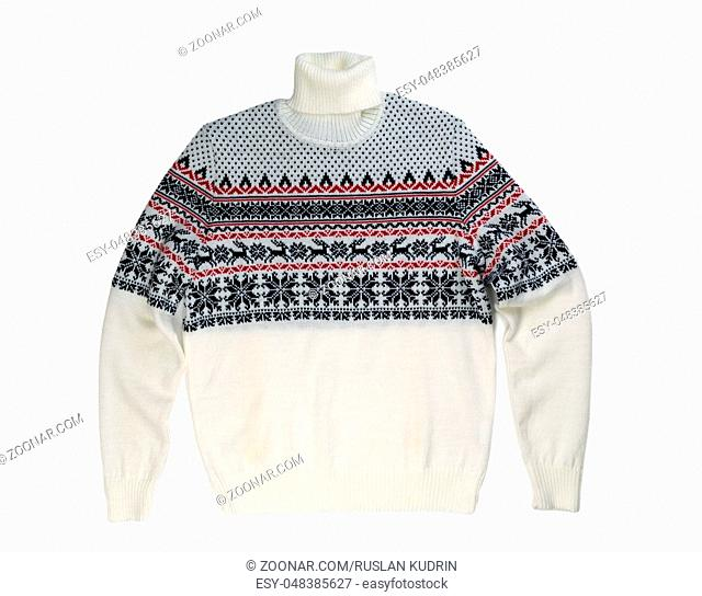 Light knitted sweater with a pattern deer. Isolate on white
