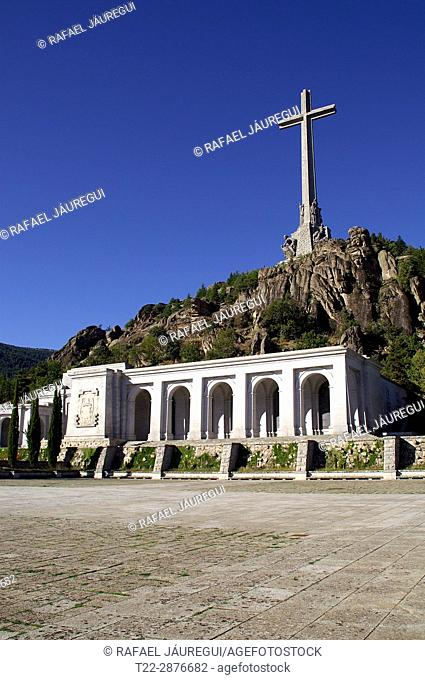 Valley of the Fallen (San Lorenzo de El Escorial) Madrid (Spain). Cross and main entrance to the Valley of the Fallen