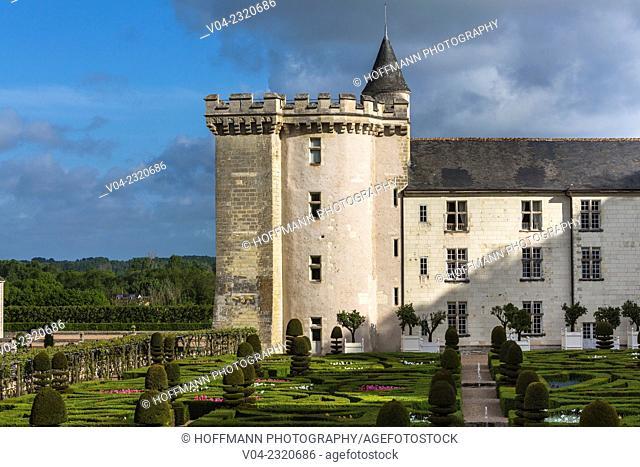 The picturesque Château de Villandry (Villandry Castle) in the Loire Valley, Indre-et-Loire, France, Europe