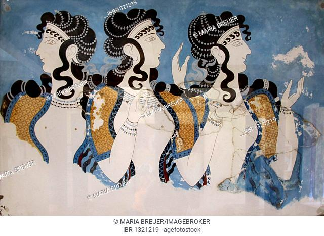 Mural painting, Knossos, archaeological excavation site, Minoan Palace, Heraklion, Crete, Greece, Europe