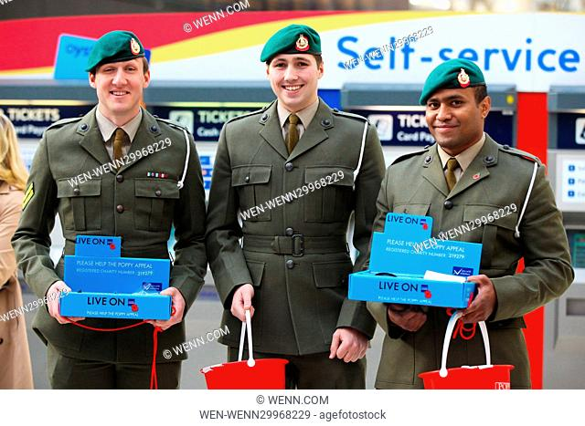 Defence Ministers meets members of the Armed Forces at Waterloo Station, collecting for the poppy appeal in aid of The Royal British Legion