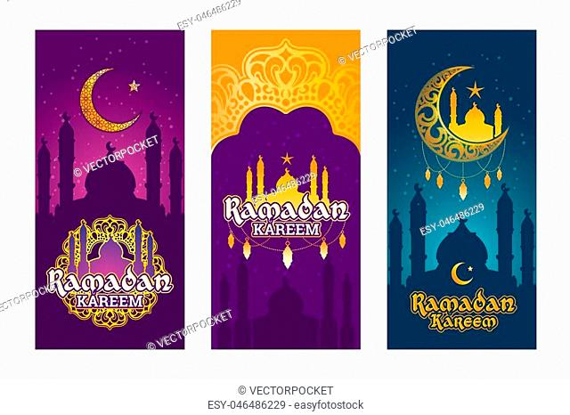Collection of vector colored banners for Ramadan Kareem with Ramadan elements, towers of mosque, vintage moon and arabic pattern