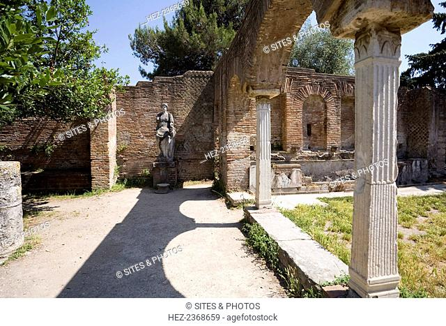 The House of Fortuna of the Grain Supply (Fortuna Annonaria), Ostia Antica, Italy. Ostia Antica was once the harbour city of ancient Rome