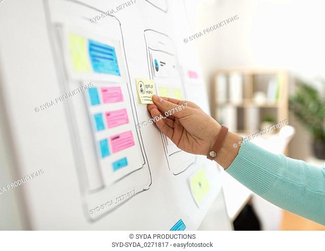 hand of developer working on ui design at office