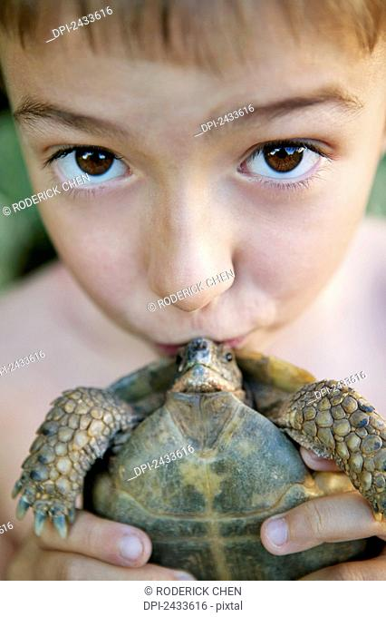A young boy holding a kissing a small turtle; France