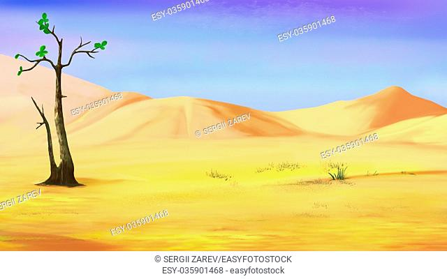 Digital Painting, Illustration of a Small Lonely Tree in a Desert in a hot summer day. Cartoon Style Character, Fairy Tale Story Background