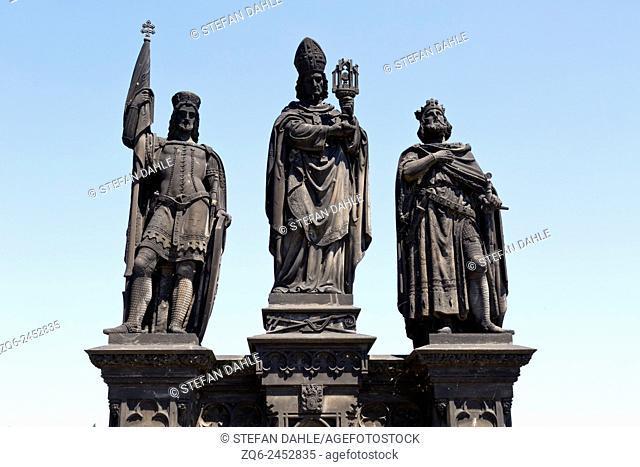 Sculptures on the Charles Bridge in Prague, Czechia