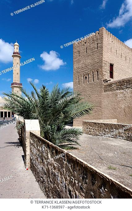 The Dubai Museum and historical Fort Al Fahidi in Dubai, UAE