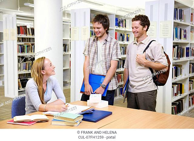 Young students in a library