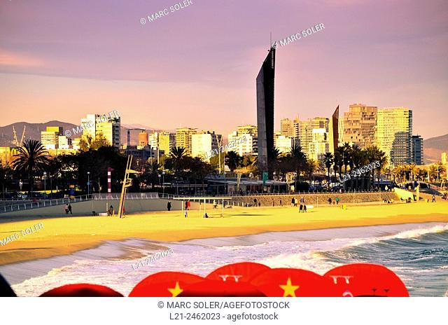 Nova Icària beach and Diagonal Mar buildings. Barcelona, Catalonia, Spain