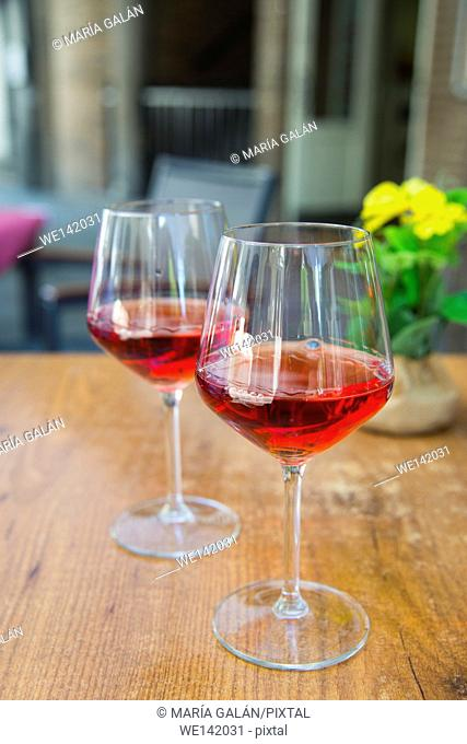 Two glasses of rose wine in a terrace. Madrid, Spain