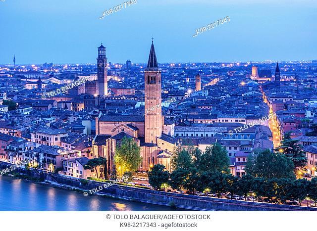 View of Verona from Castel San Pietro, Church of Santa Anastasia, Verona, World Heritage, Italy