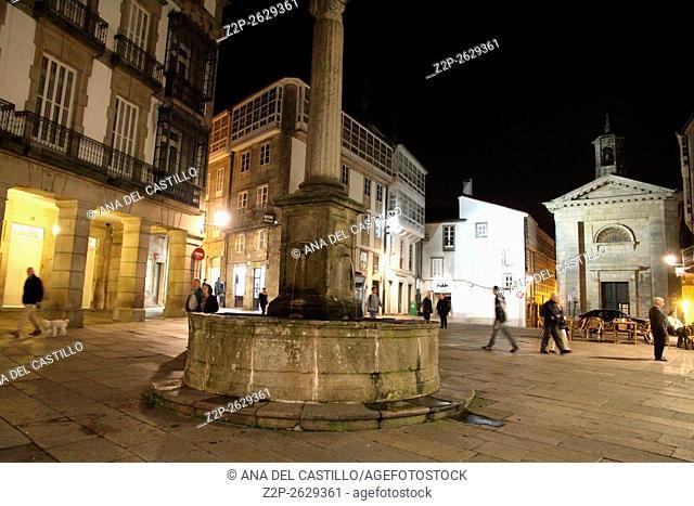 Santiago de Compostela by night on November 19, 2015 in Galicia Spain