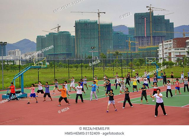 China, Shenzhen, First year students following a class of physical education at the heart of the city, at the South University of Science and Technology of...
