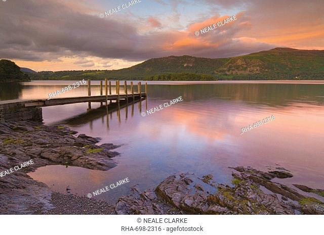 Sunset, Hawes End landing stage jetty, Derwent Water, Lake District, Cumbria, England, United Kingdom, Europe