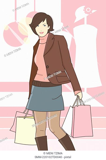 Woman dressed in winter wear with shopping bags