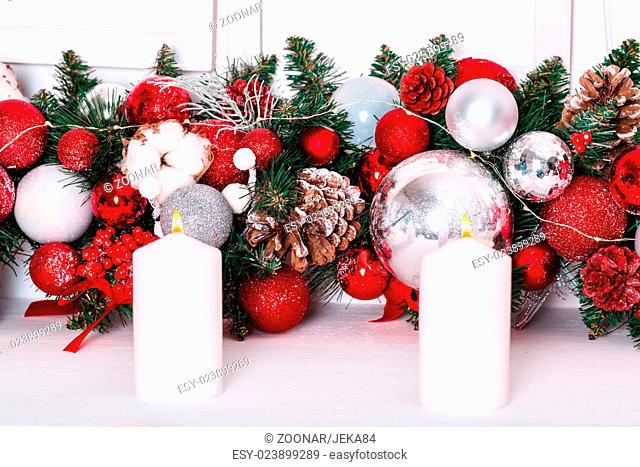 Beautiful Christmas Decoration with Snow and candl