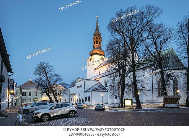 Tallinn, Estonia. Evening View Of Cathedral Of Saint Mary Virgin Or Dome Church Or Toomkirik Located On Toompea Hill. Tallinna Neitsi Maarja Piiskoplik...
