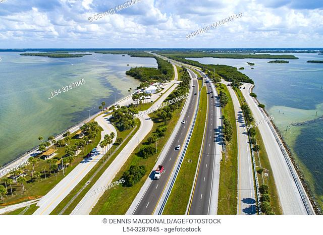 Automobile car rest area on I-275 the southern part of the causeway that connects Palmetto / Bradenton Florida to St. Petersburg Florida via the Sunshine Skyway...