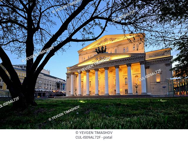 View of Bolshoi theatre at night, Moscow, Russia