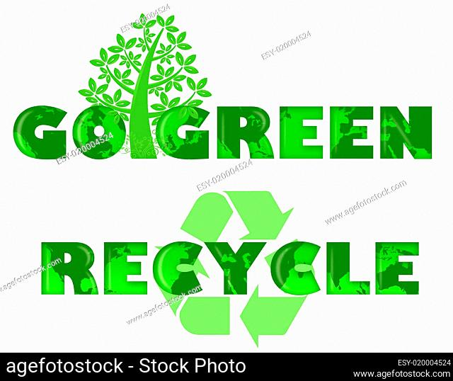 Go Green Recycle Logo with World Map