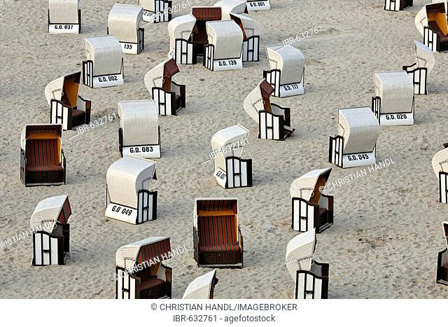 Empty beach chairs on the beach, Ruegen, Germany, Europe