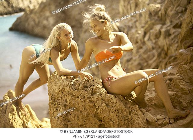two women at Seitan Limania Beach, Crete, Greece