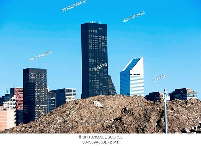 Trump World Tower behind pile of soil in New York City, USA
