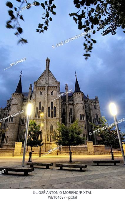 Episcopal Palace (1887-1893) by Gaudi at night, Astorga, Way of St James, Leon province, Castilla-Leon, Spain