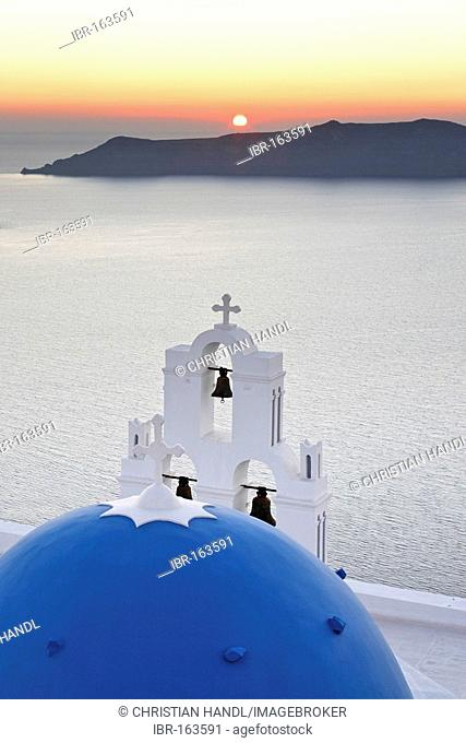 Church at Firostefani at sunset, Firostefani, Santorini, Greece
