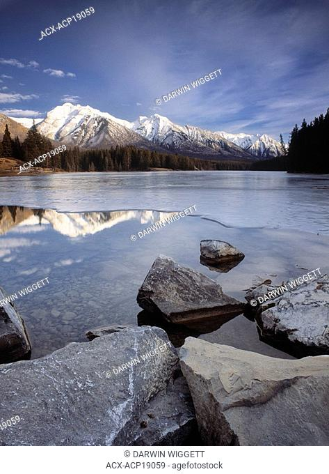 Johnson Lake and the Fairholme Range, Banff National Park, Alberta, Canada