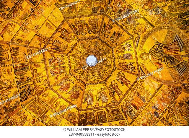 Jesus Christ Angels Biblical Stories Mosaic Dome Bapistry Saint John Duomo Cathedral Church Florence Italy. Bapistry created 1000 1100