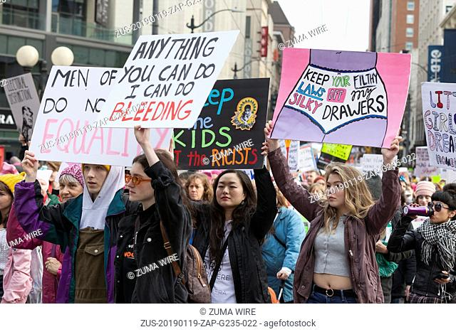 January 19, 2019 - Seattle, Washington, United States - Seattle, Washington: Protestors stream through Westlake Park during the Womxn's March Seattle 2019
