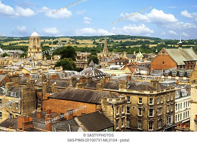 High angle view of buildings in a city, Oxford, Oxfordshire, England