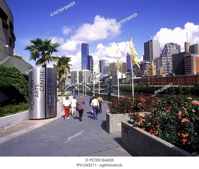 View of Melbourne city skyline from across the Yarra River from the Victorian Arts Centre