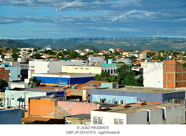 Panoramic view of the city in the background in the background wind turbines wind turbines, Guanambi, Bahia, Brazil, 03.2016