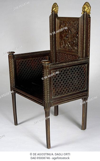Armchair, by Ettore Zaccari (1877-1922), walnut with gilding. Italy, 20th century.  Genoa, The Wolfsonian Foundation (Arts And Crafts Museum)