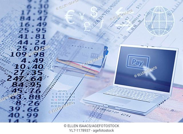 Concept photo of online banking and paying bills electronically through the computer  Montage image includes bills, columns of numbers, computer laptop