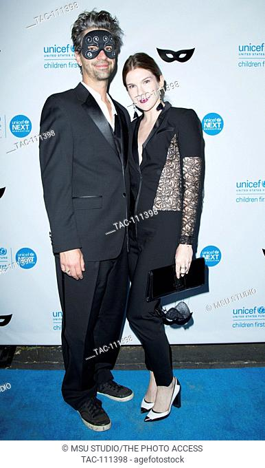 Lily Rabe and guest attend UNICEF Black & White Masquerade Ball at Masonic Lodge at Hollywood Cemetery on October 30, 2015 in Los Angeles, California, USA
