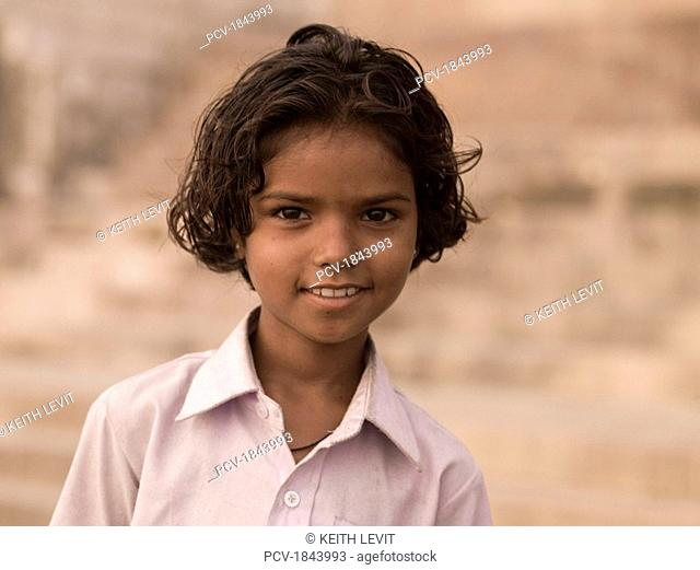 Varanasi,India,Portrait of young Indian girl