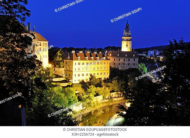 the Vltava at the foot of the Cesky Krumlov Castle by night, South Bohemia, Czech Republic, Europe
