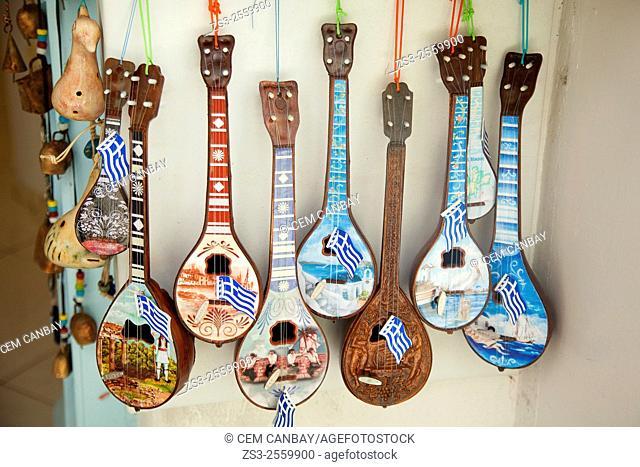 Shop selling traditional Greek music instruments in town center, Mykonos, Cyclades Islands, Greek Islands, Greece, Europe