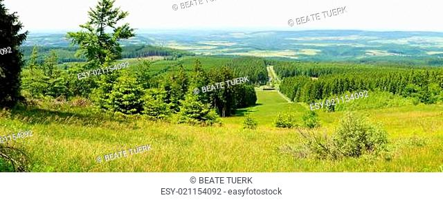 Hunsrück Panorama mit Thalfang und Landschaft am Erbeskopf