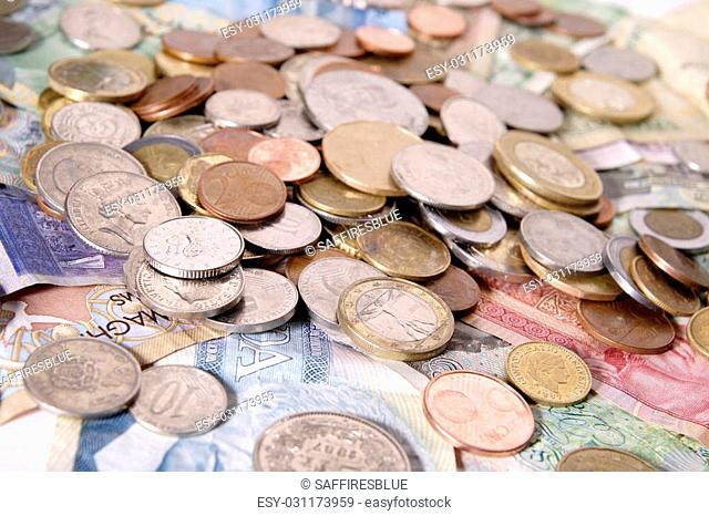 Foreign bills and coins from the European Union, Switzerland, the United Kingdom, Ecuador, Peru, Mexico, the Netherlands Antilles, the Czech Republic, Morocco
