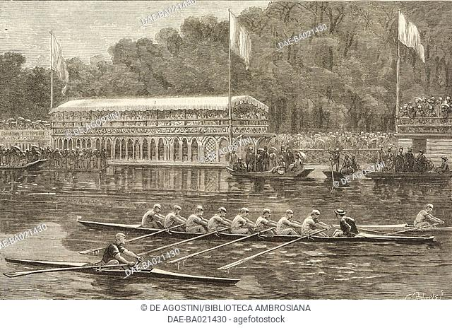 The finish, boat race, University life at Oxford on the Thames, United Kingdom, illustration from the magazine The Graphic, volume XV, no 394, June 16, 1877