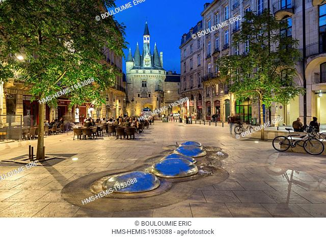France, Gironde, Bordeaux, area listed as World Heritage by UNESCO, Palace Square and door Cailhau