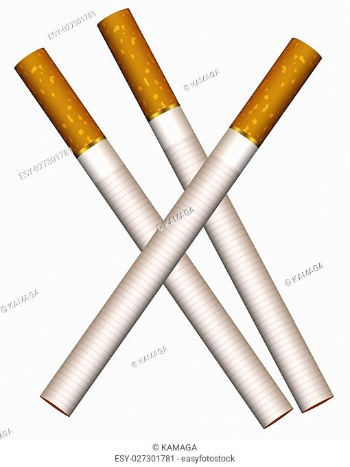 Illustration of three cigarettes on a white background