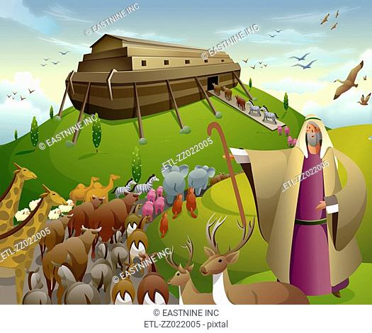 Jesus Christ standing with a herd of animals