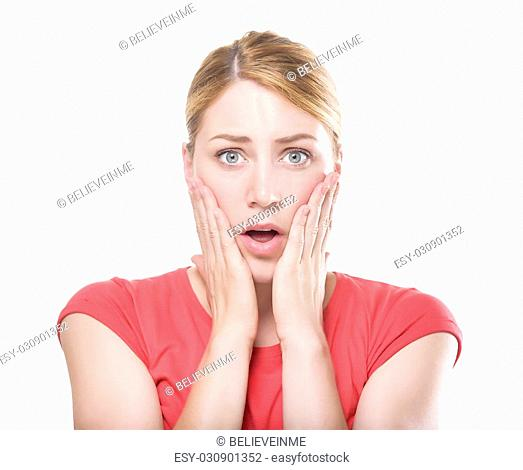 Shocked blonde lady with her mouth opened, isolated on white